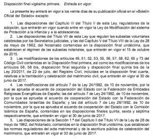 Disposición Final Primera de la Ley de Jurisdicción Voluntaria